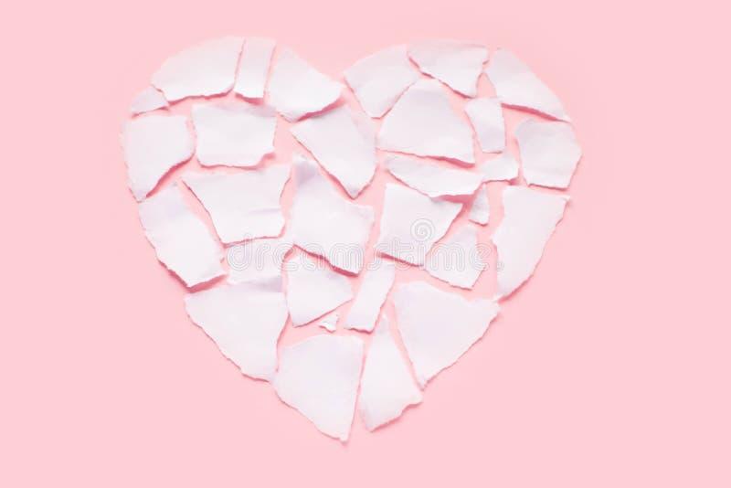 Icône de séparation et de divorce de concept de dissolution du coeur brisé blanc photo stock