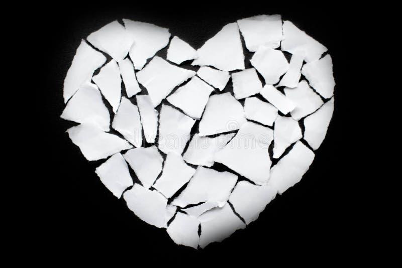 Icône de séparation et de divorce de concept de dissolution du coeur brisé blanc photo libre de droits