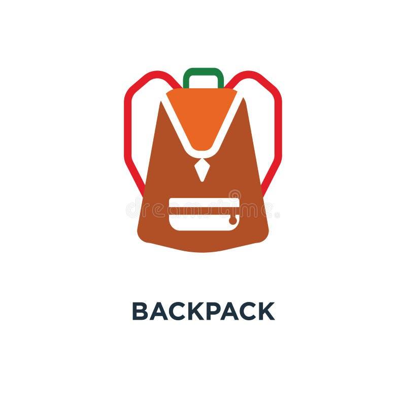 Icône de sac à dos la conception de sac à dos de la conception de symbole de concept de collection colorée par 2, sac à dos simpl illustration de vecteur