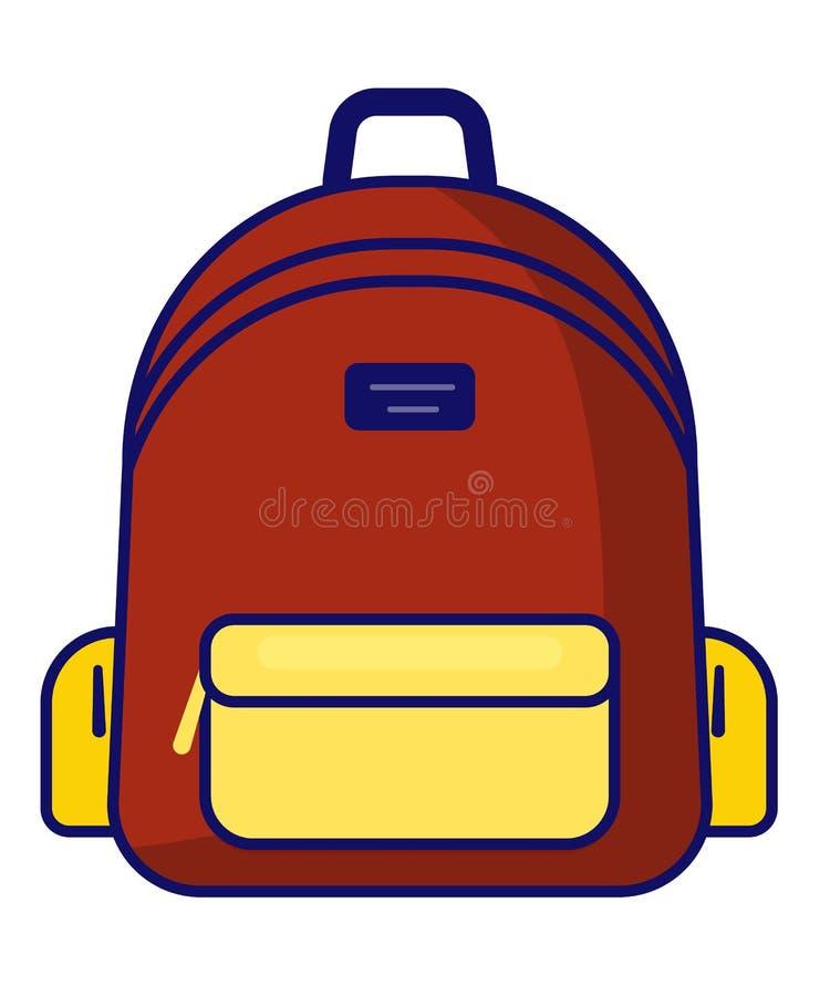 Icône de sac à dos - symbole d'école de vecteur - icône de voyage illustration stock