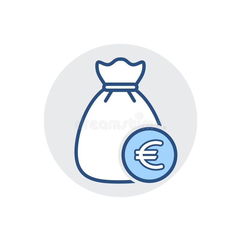Icône de sac d'argent Encaissez l'argent liquide, financez, financez, imposez l'icône illustration stock
