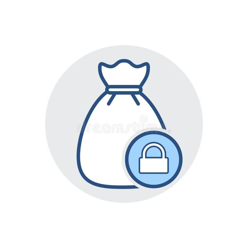 Icône de sac d'argent Encaissez l'argent liquide, financez, financez, imposez l'icône illustration de vecteur