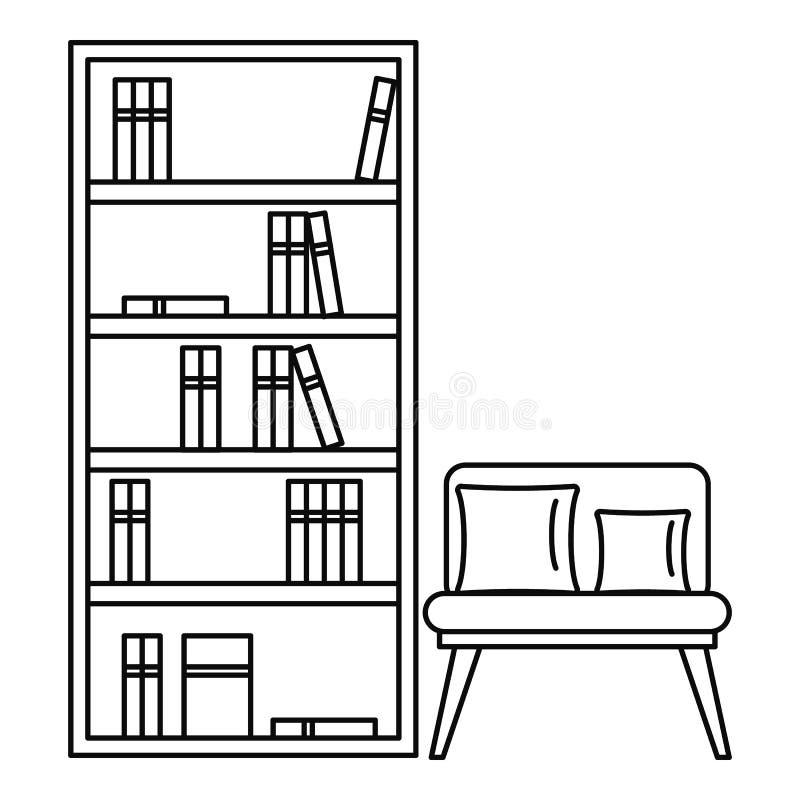 Icône de salle de lecture, style d'ensemble illustration stock
