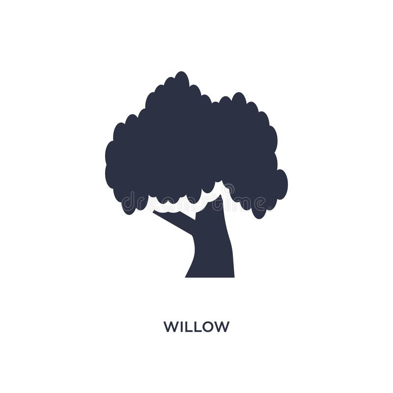 icône de saule sur le fond blanc Illustration simple d'élément de concept de nature illustration stock