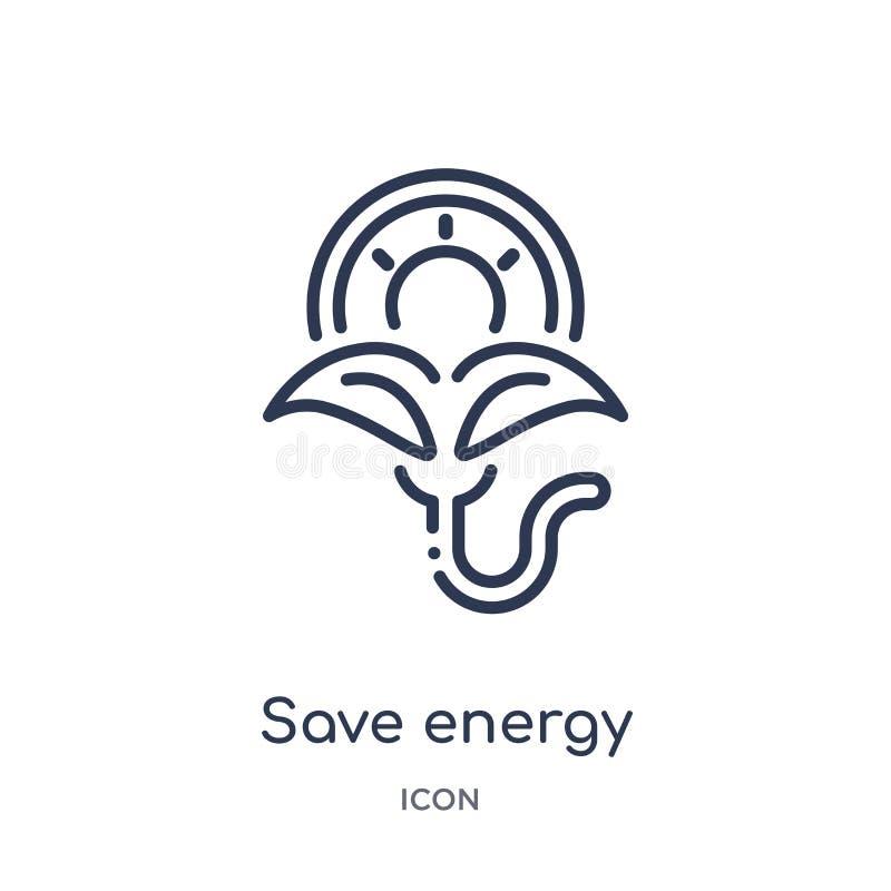 Icône de sauvegarde linéaire d'énergie de collection d'ensemble d'écologie Ligne mince vecteur d'énergie d'économies d'isolement  illustration stock