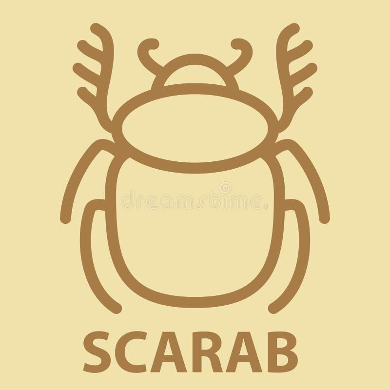 Icône de scarabée dans le style linéaire illustration stock