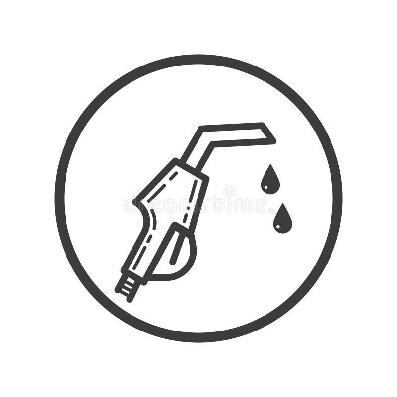 Icône de schéma de pistolet d'essence dans le cadre rond illustration de vecteur
