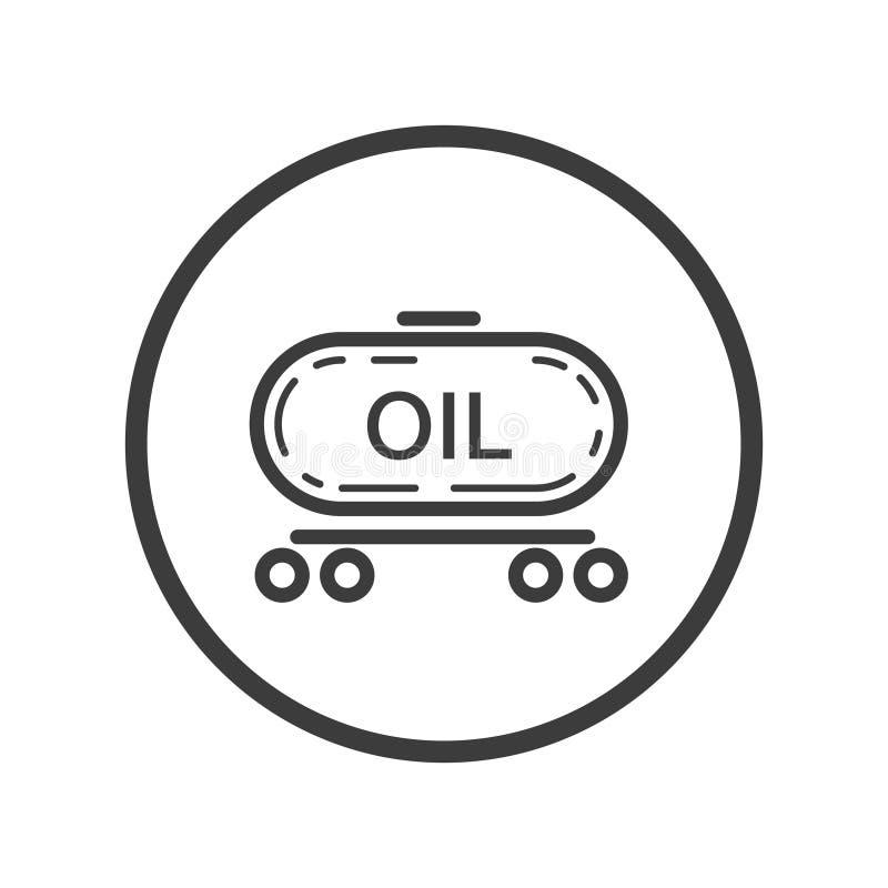 Icône de schéma de train avec de l'huile dans le cadre rond illustration stock