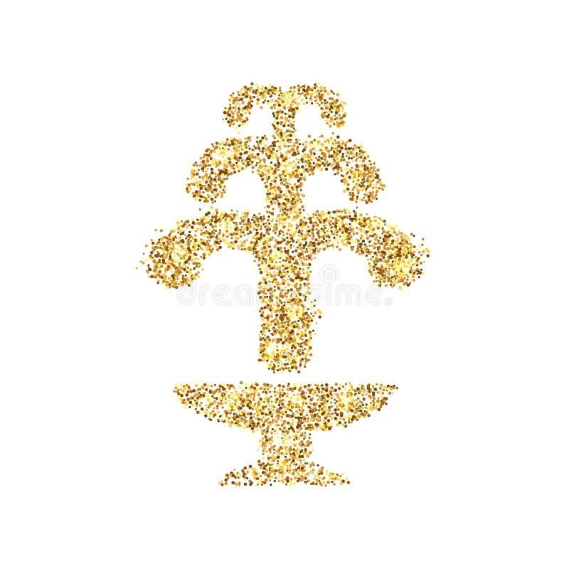 Icône de scintillement d'or de fontaine d'isolement sur le fond Illustration créative de concept d'art pour le Web, confettis lég illustration stock