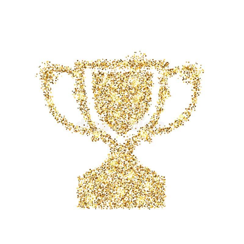 Icône de scintillement d'or de tasse de trophée d'isolement sur le fond Illustration créative de concept d'art pour le Web, confe illustration stock