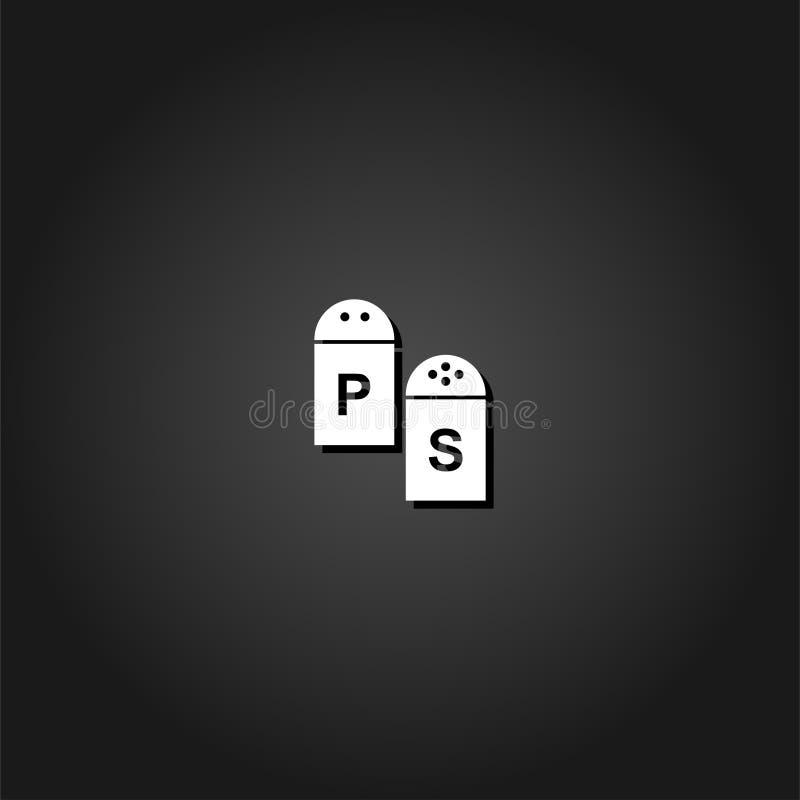 Icône de sel et de poivre plate illustration stock