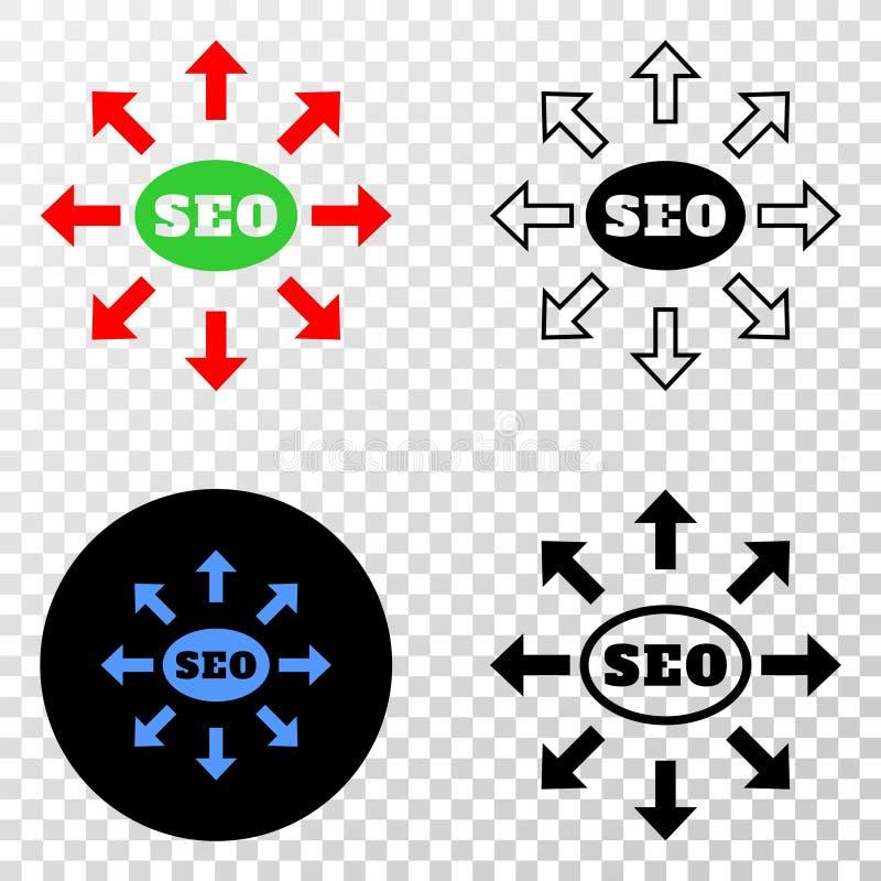 Icône de Seo Distribution Arrows Vector ENV avec la version de découpe illustration de vecteur