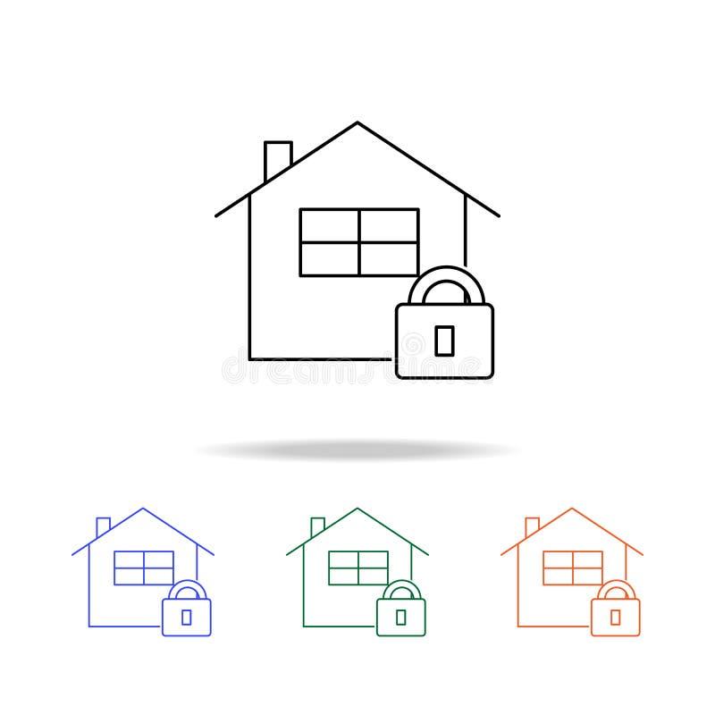 icône de serrure de maison de vecteur Éléments des immobiliers dans les icônes colorées multi Icône de la meilleure qualité de co illustration stock