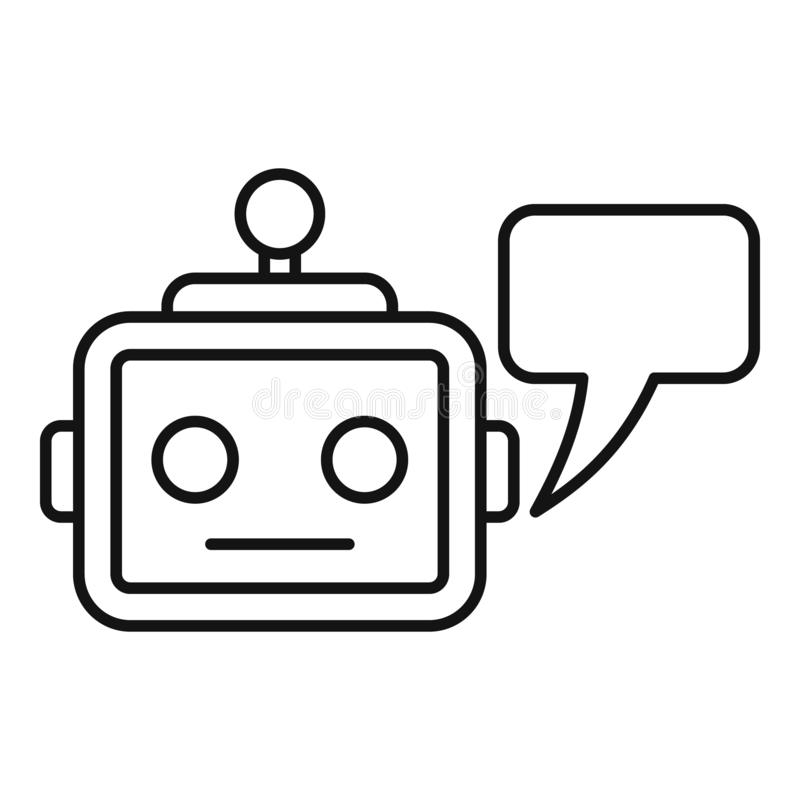 Icône de service de Chatbot, style d'ensemble illustration stock
