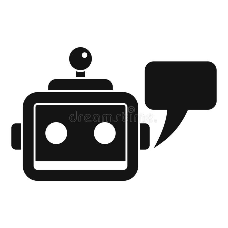 Icône de service de Chatbot, style simple illustration de vecteur