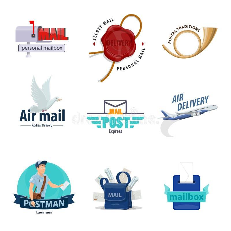 Icône de service postal pour le courrier, conception de distribution du courrier illustration libre de droits