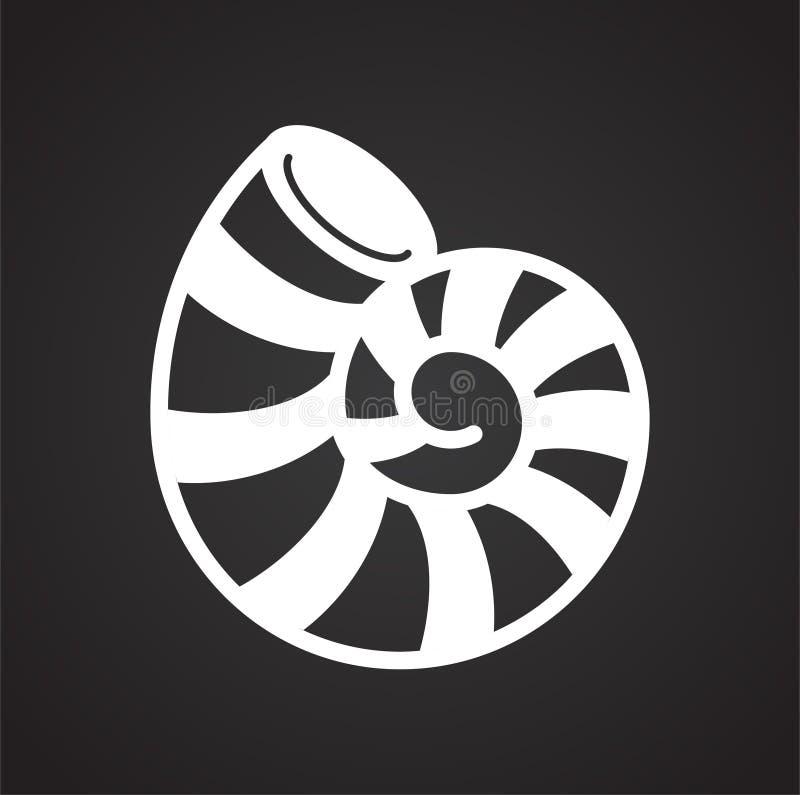 Icône de Shell de mer sur le fond noir pour le graphique et la conception web Signe simple de vecteur Symbole de concept d'Intern illustration de vecteur