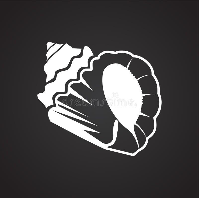 Icône de Shell de mer sur le fond noir pour le graphique et la conception web Signe simple de vecteur Symbole de concept d'Intern illustration stock