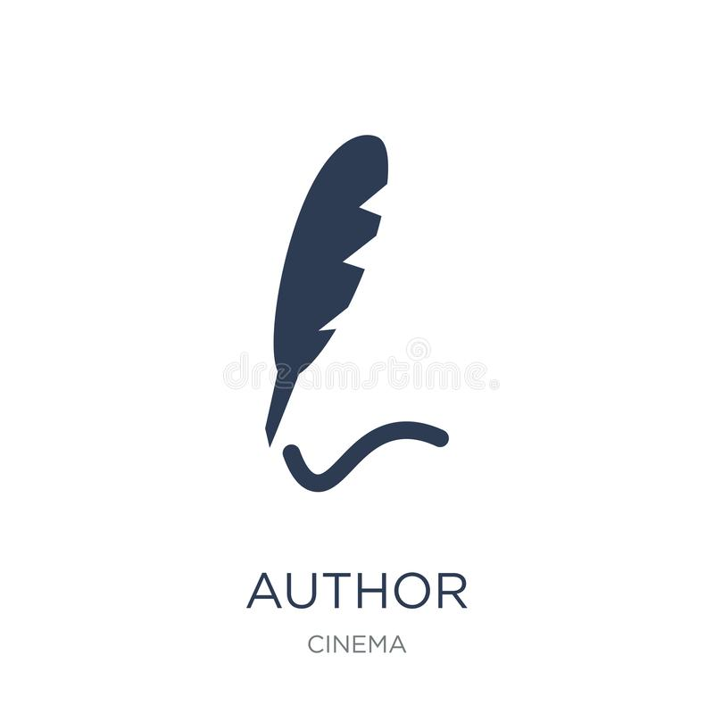 Icône de Sign auteur Icône plate à la mode de Sign auteur de vecteur sur b blanc illustration libre de droits