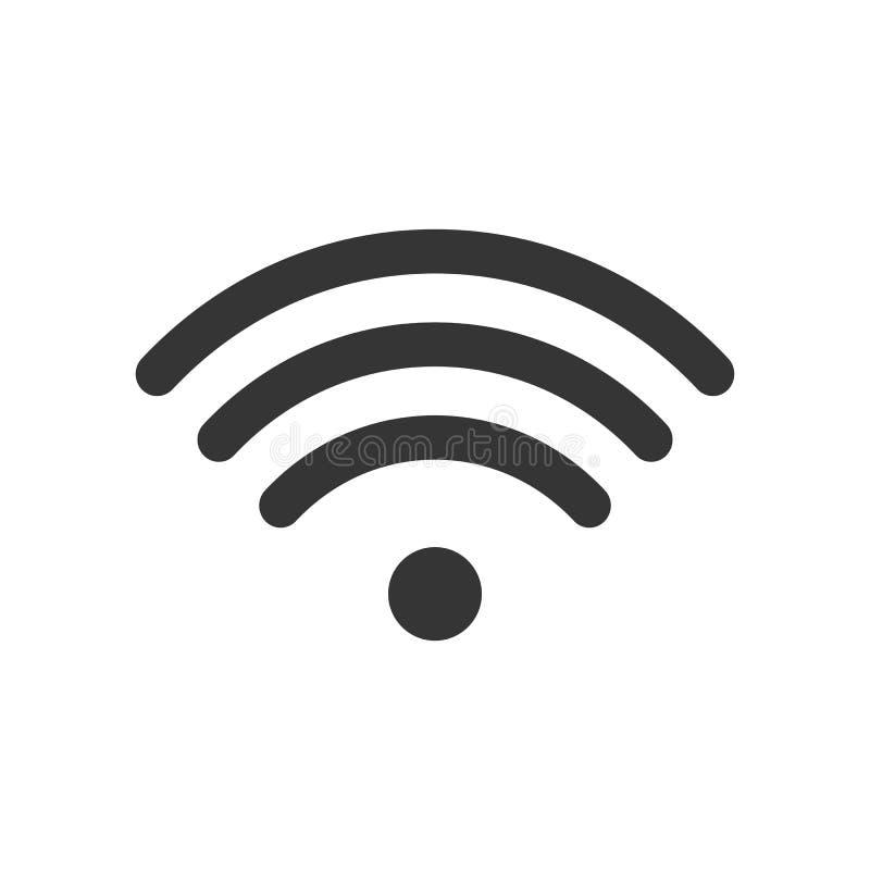Icône de signal de Wifi, symbole sans fil Pictogramme d'Internet, signe plat de vecteur d'isolement sur le fond blanc vecteur sim illustration de vecteur