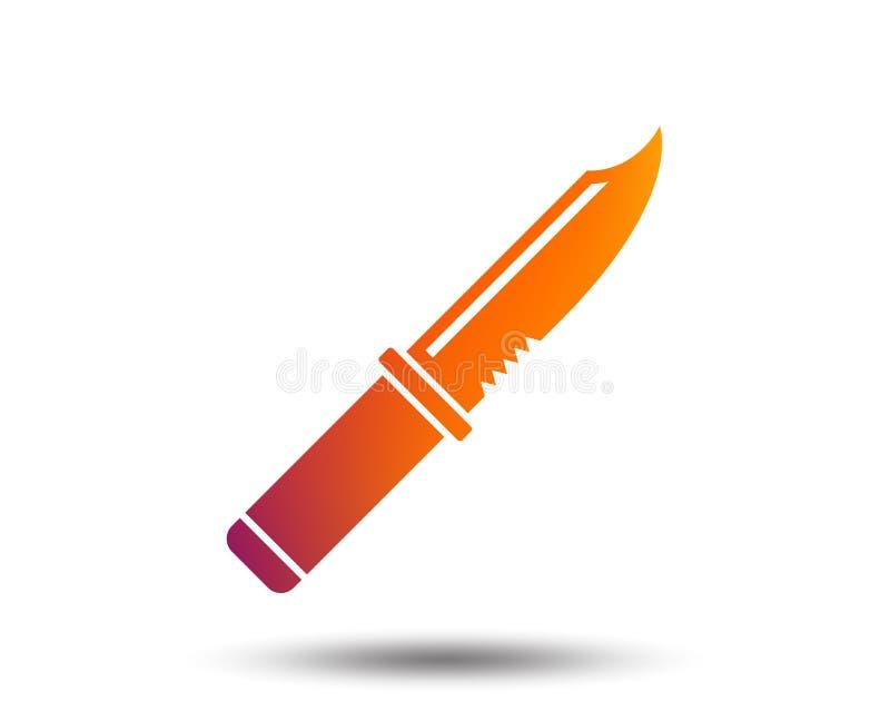 Icône de signe de couteau Symbole bordé d'armes illustration stock