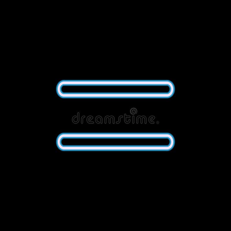 icône de signe d'égalité dans le style au néon Un de l'icône de collection de Web peut être employé pour UI, UX illustration stock