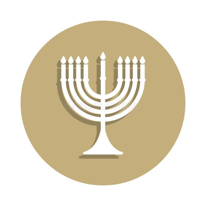 Icône de signe de Menorah de judaïsme dans le style d'insigne Un de l'icône de collection de symbole de religion peut être employ illustration libre de droits