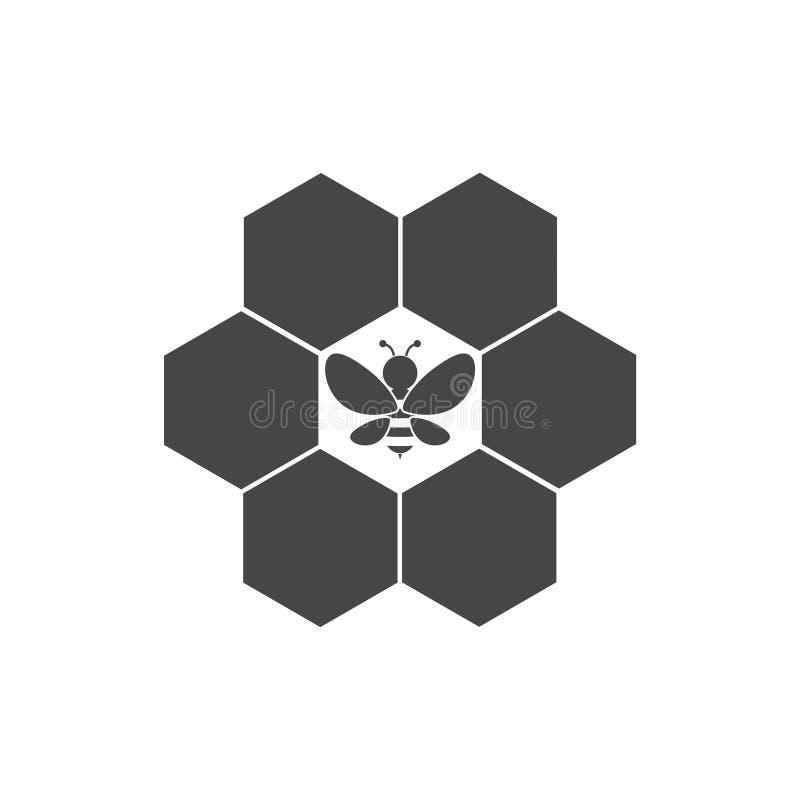 Icône de signe de nid d'abeilles Symbole de cellules de miel illustration de vecteur