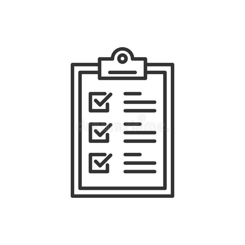 Icône de signe de presse-papiers de liste de contrôle dans le style plat Illustration de vecteur de liste de document sur le fo illustration de vecteur