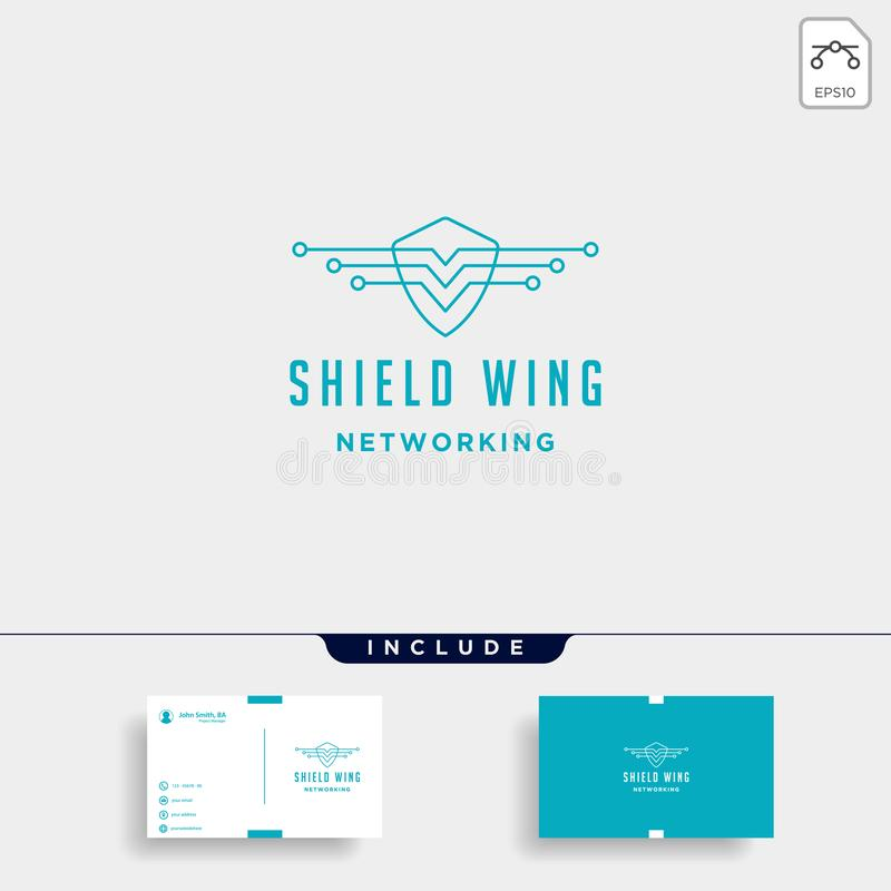 icône de signe de symbole de défenseur d'Internet de conception de logo de technologie d'ailes de bouclier illustration stock