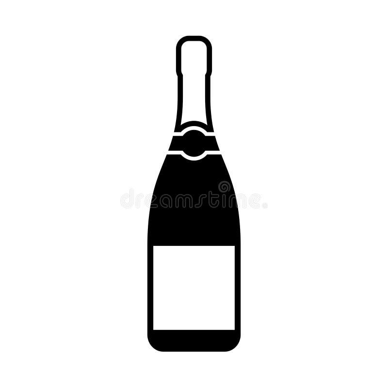 Icône de silhouette de bouteille de Champagne illustration de vecteur