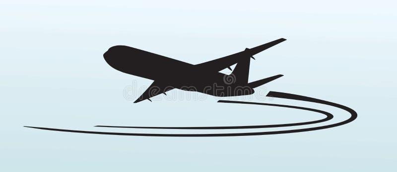 Icône de silhouette d'avion illustration stock