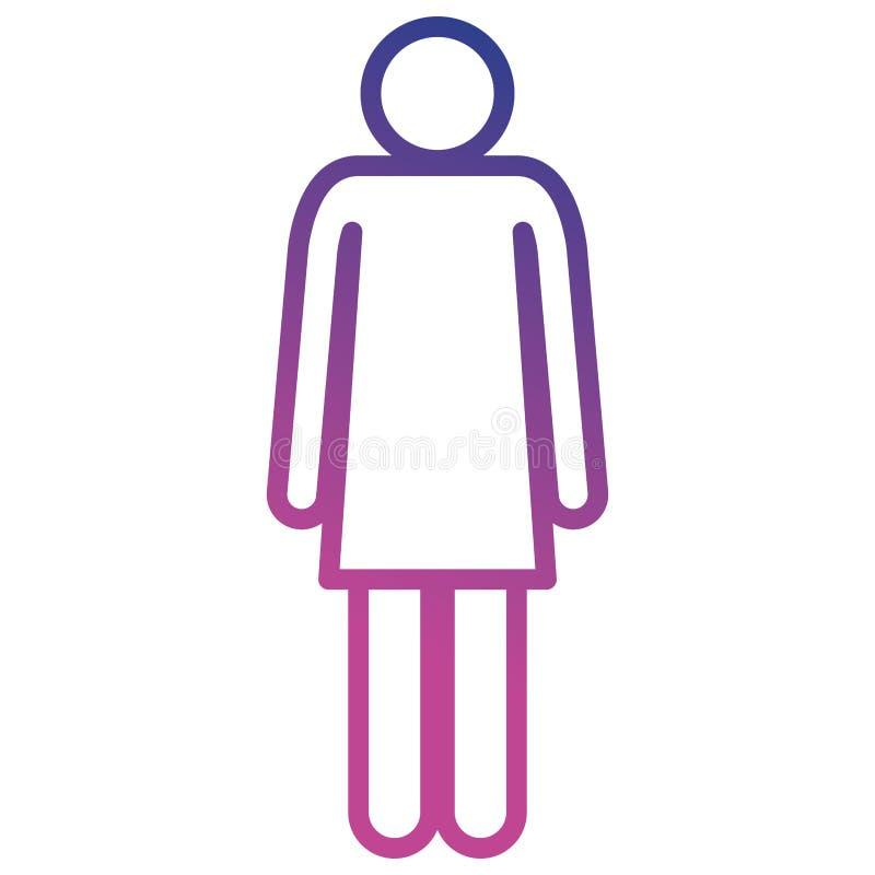 Icône de silhouette de femme de figure illustration stock