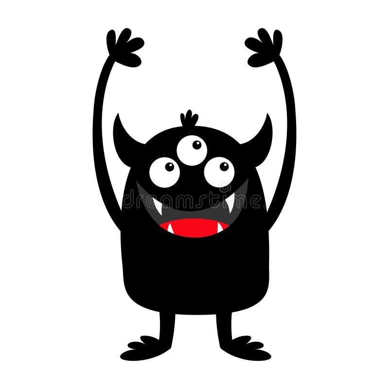 Ic?ne de silhouette de noir de monstre Trois yeux, croc de dents, klaxons, huent des mains  Caract?re dr?le de bande dessin?e mig illustration stock