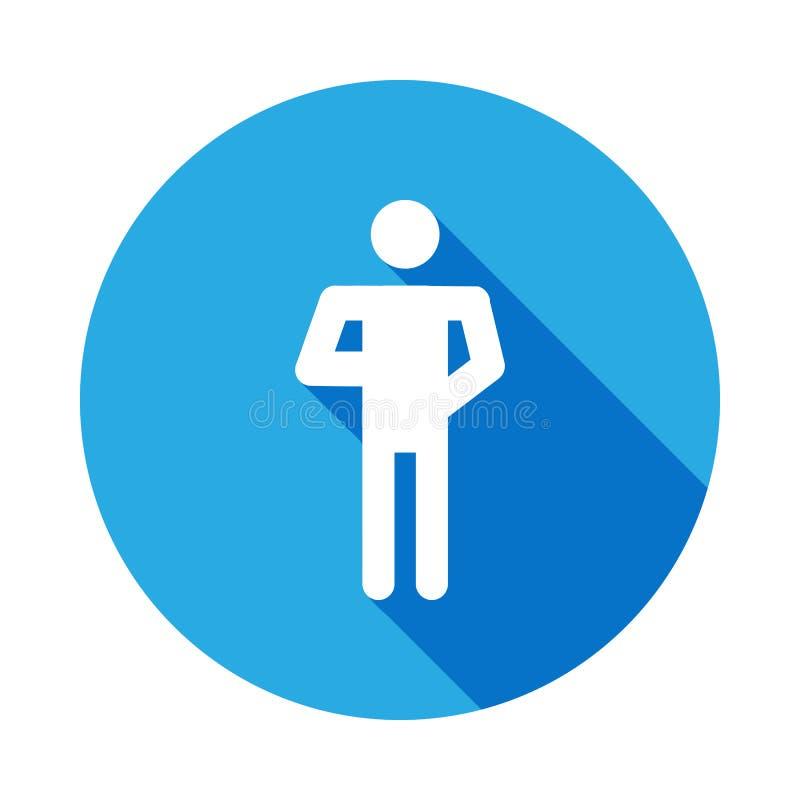 Icône de silhouette de position d'homme de lecteur de livre avec la longue ombre Des signes et les symboles peuvent être employés illustration stock