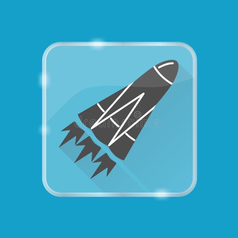 Icône de silhouette de Rocket dans le style plat sur le bouton transparent illustration libre de droits