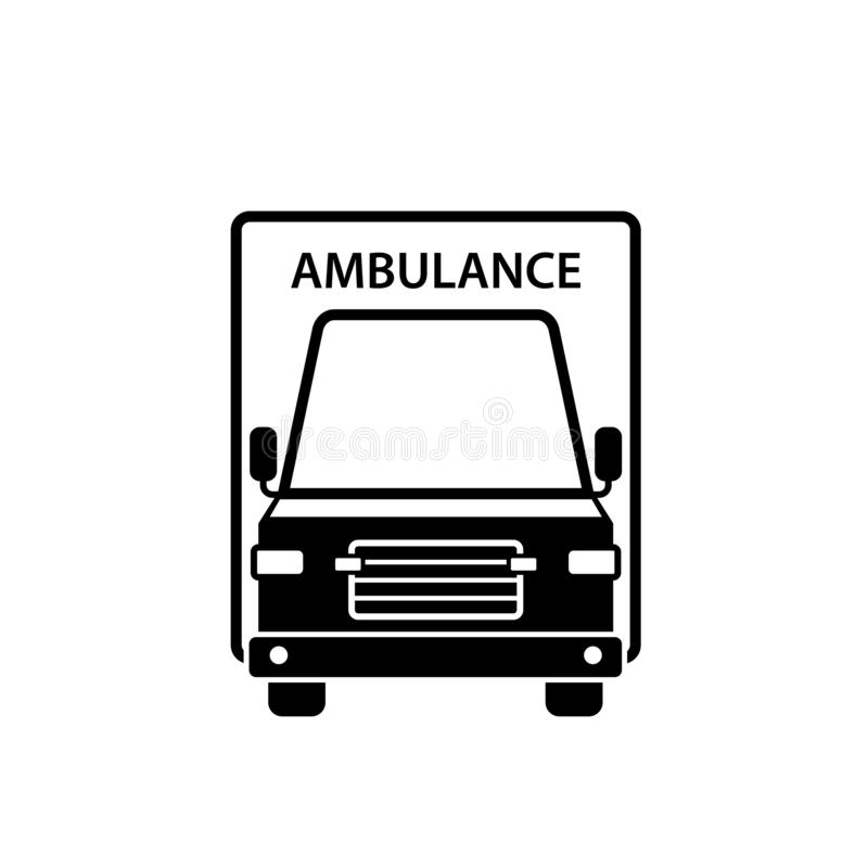 Icône de silhouette de vue de face de voiture d'ambulance illustration de vecteur