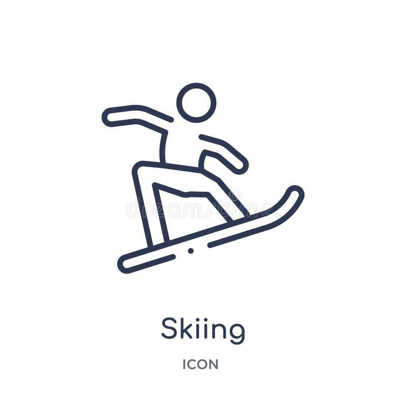 Icône de ski linéaire d'activité et de collection d'ensemble de passe-temps Ligne mince vecteur de ski d'isolement sur le fond bl illustration libre de droits