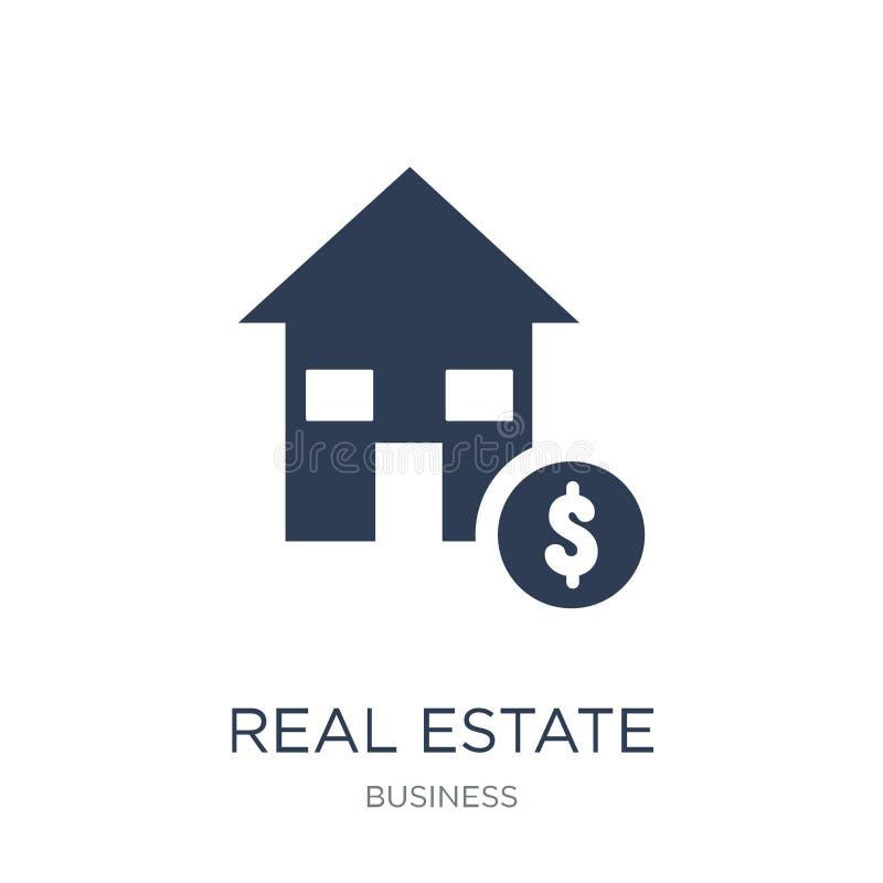 Icône de sociétés d'investissement immobilier Vrai esta de vecteur plat à la mode illustration stock