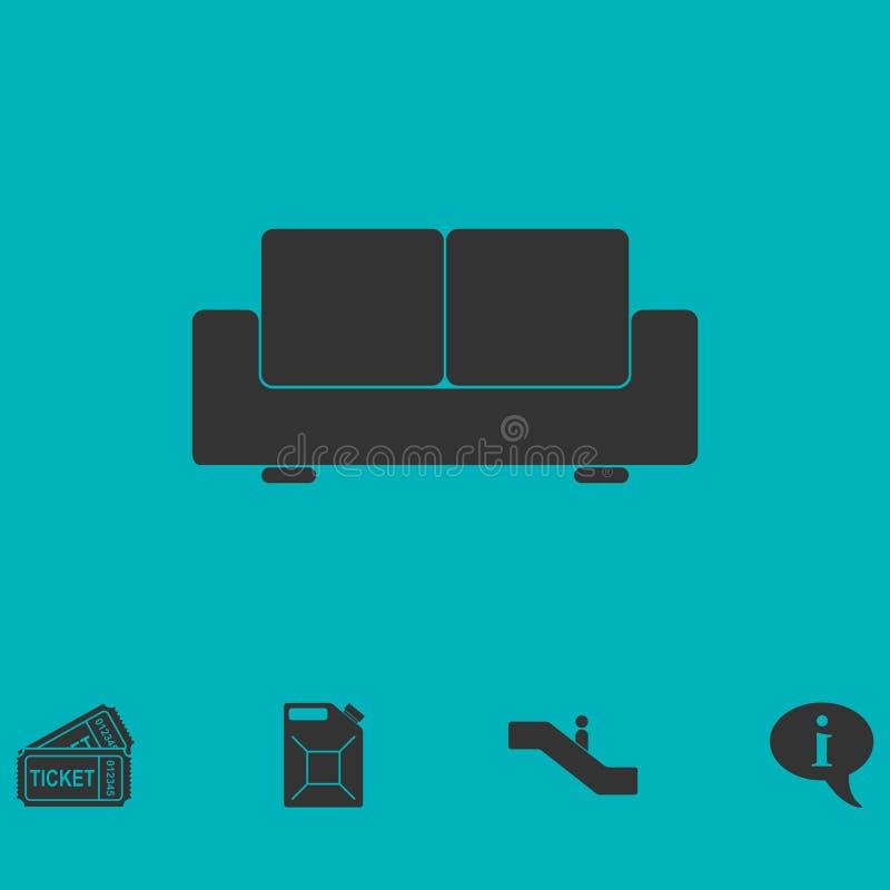 Icône de sofa plate illustration stock