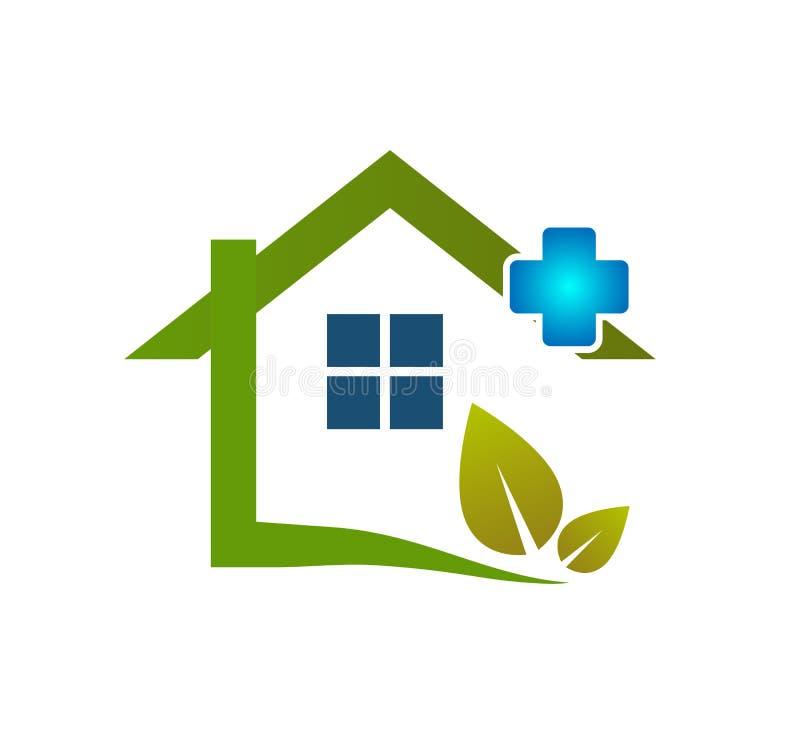 Icône de soins de santé maison icône de soins de la feuille verte union familiale, logo de soins d'amour à la main illustration stock