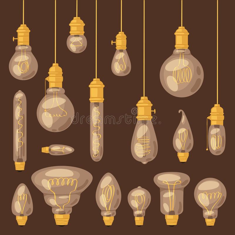 Icône de solution d'idée d'ampoule de vecteur d'ampoule et ensemble d'illustration de lampe d'éclairage électrique de l'électrici illustration de vecteur