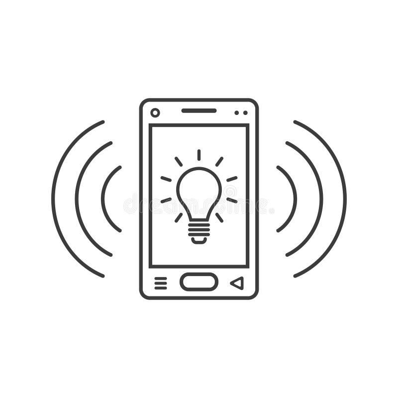 Icône de sonnerie de smartphone de schéma avec le signe et le signal d'ampoule ondule illustration de vecteur