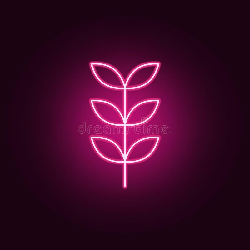 Icône de sorbe Éléments des feuilles et des fleurs dans les icônes au néon de style E illustration stock