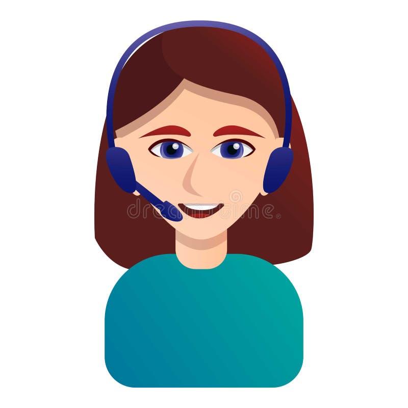 Icône de sourire d'opérateur de centre d'appels, style de bande dessinée illustration stock