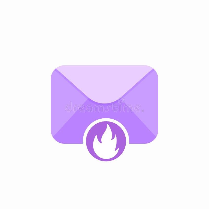 Icône de Spam de courrier de flamme d'enveloppe d'email de brûlure illustration de vecteur