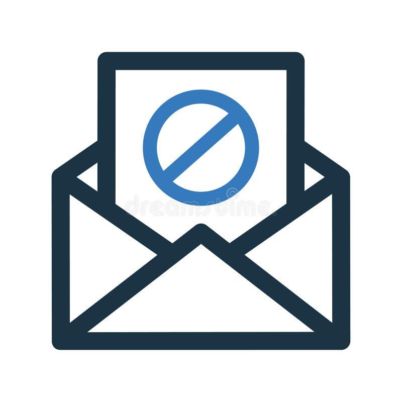 Icône de spamming d'e-mail, envoi de spam, mauvaise adresse e-mail illustration de vecteur