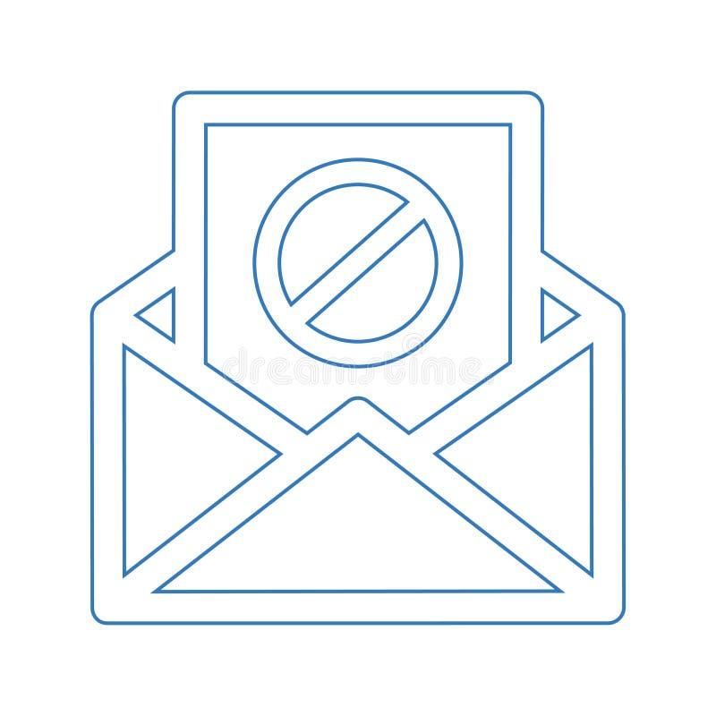 Icône de spamming d'e-mail, envoi de spam, mauvaise adresse e-mail illustration stock