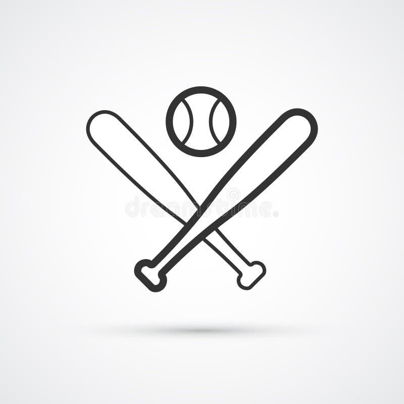 Ic?ne de sport de base-ball Battes et vecteur eps10 de boule illustration de vecteur