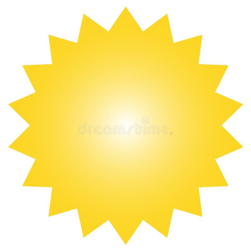 Icône de starburst, insigne de rayon de soleil, label, autocollant Couleur jaune Illustration de vecteur illustration stock